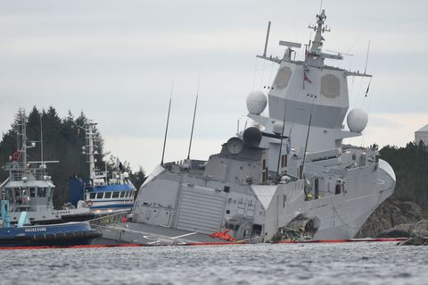 Norwegian Frigate Intentionally Run Aground After Collision