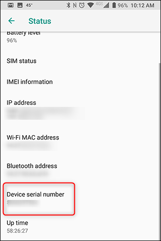 You'll find your device's serial number in the device settings.