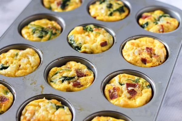 Turkey bacon, kale, and cheese egg muffins (gluten-free, dairy free)