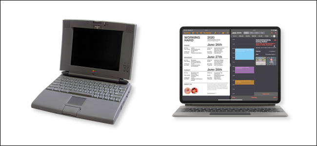 A PowerBook 540c next to an iPad Pro with magic keyboard.