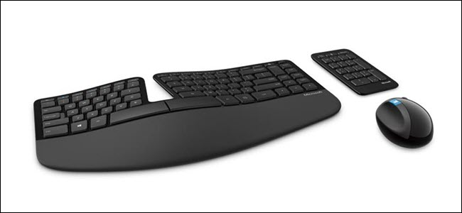 Microsoft wireless sculpt, ergonomic keyboard, numpad, and mouse.